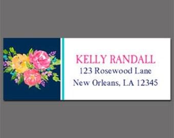 Floral Return Address Labels Printable or Printed - Printable Enclosure, Gift Tag or Return Address Label - Navy Floral Collection