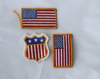 Vintage USA Flag Patches Lot of 3