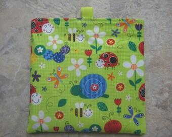 Bugs, Snail, Ladybug Reusable Sandwich Bag, Reusable Snack Bag, Washable Treat Bag with easy open tabs