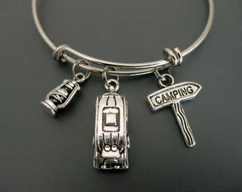 Camping Bracelet / Camping Bangle / Travel Bracelet  / Travel Bangle / Summer Camp Bangle  / Adjustable Charm Bracelet / Lantern Bangle