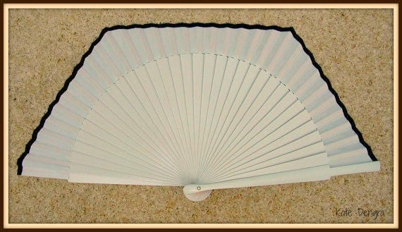 Spanish Hand Held Hand Fan UNUSUAL BOX SHAPE By Kate Dengra Spain Made to Order Any Color