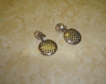 vintage clip on earrings silvertone basketweave dangles