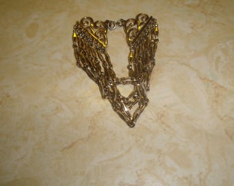vintage bracelet goldtone multi strand chain