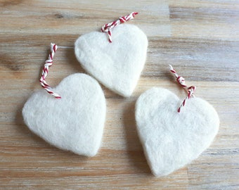 White Felt Heart Christmas Tree Decorations - Set of 3 Needle Felted Heart Shape Hanging Decorations