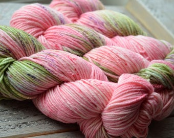 Hand Dyed Superwash Merino - Worsted weight yarn - Apple Blossom