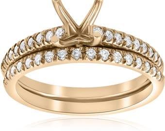 3/8ct Diamond Engagement Ring Setting & Wedding Band 14k Yellow Gold