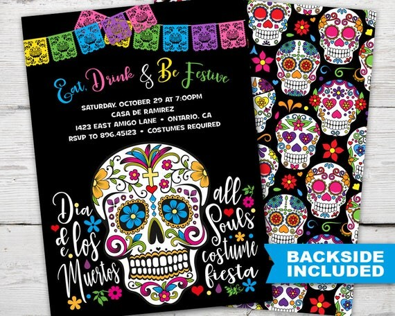 Day Of The Dead Wedding Invitations: Sugar Skull Party Invitation Dia De Los Muertos Invitations