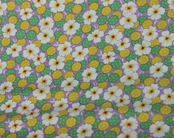 Lilac, Green and Yellow Circle White Polka Dot with White Flower, Quilting Fabric, Summer Dresses, Purses, Totes, Aprons, Nursing Cover