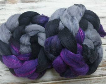 Deep Space 4oz Superfine 18.5 micron Merino Mulberry Silk Spinning Fiber Felting Combed Top Roving Purple Black Gray
