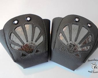 LAST TWO Black Leather Roller Derby Skates Toe Guards with Mercury Silver Sea Shell