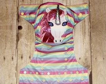 Pastel Unicorn Embroidered One Size Pocket Cloth Diaper, Reusable Cloth Diaper, One Size Cloth Nappy, Pocket Cloth Nappy, Embroidered Diaper