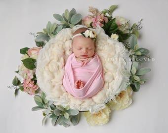 Baby Pink Stretch Wrap for Newborn Photo Prop Baby Girl Jersey Stretch Wrap