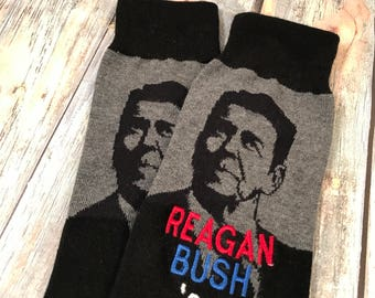 Patriotic Socks - Reagan Bush 84 - Ronald Reagan Gift - Mens Gift - Dad Gift- Grandfather Gift - Republican Gift