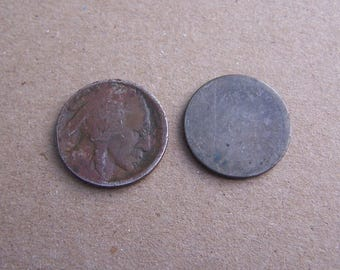 Buffalo Nickel and 1870's Sheild Nickel, Old US Coins for collector or use in craft projects