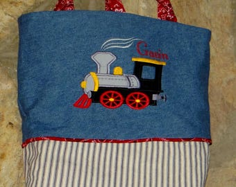 Train Engine Tote Bag, personalized