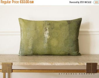 ON SALE Bring nature in, woodland Linen oblong  pillowcase. original printed. Khaki green.. On the stump /  FRAGMENTS