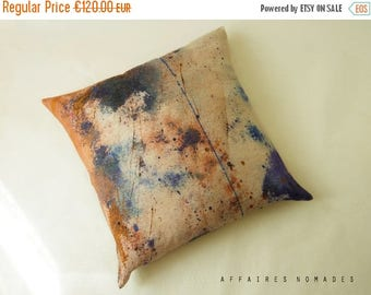 """ON SALE Flower. Abstract art  pillow. Linen Big 26"""" square cushion  cover. Salmon pink  .. Bloom 1 /  FRAGMENTS"""