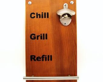 wall mount nickel bottle opener magnet cap catcher cedar burnt Chill Grill Refill towel bar