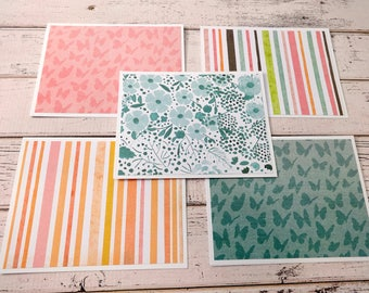 Note Card Set, Note Cards, Thank You Notes, Blank Cards, Set of 5 Note Cards with Matching Envelopes, Butterfly Cards, Butterfly Stripe