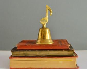 Brass Music Note Bell - Paperweight Sculpture Figurine Song Decor Teacher Desk