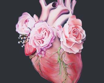 Floral Heart II Anatomy Heart Print of Oil Painting - Anatomical Art Print - Human Body - Medical Art