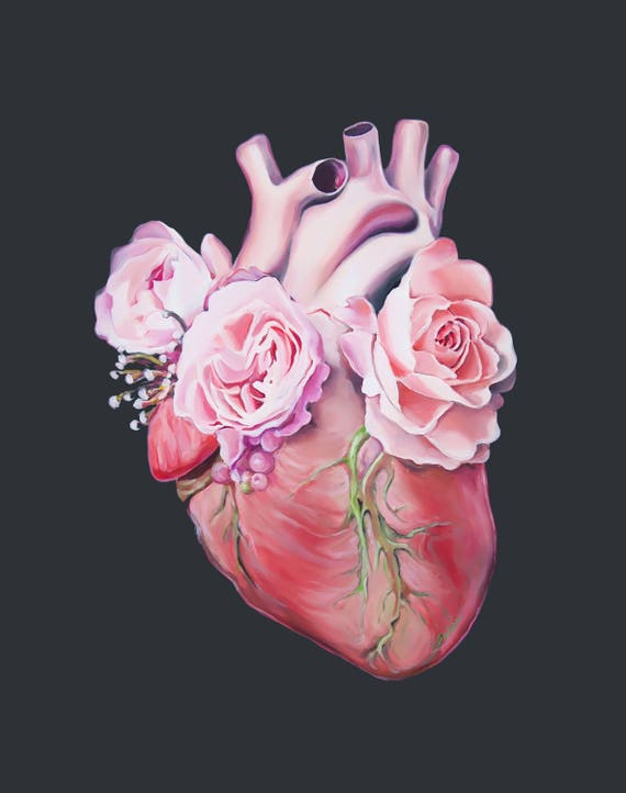 Coeur floral II anatomie coeur impression de peinture à l'huile - anatomiques Art Print - corps humain - Art médical