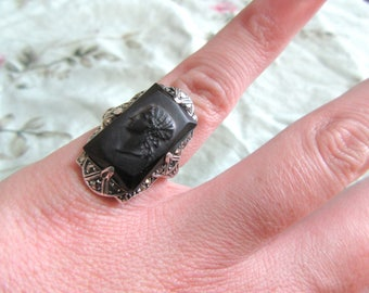Sterling Silver, Marcasite, and Black Stone Cameo Ring SZ 4