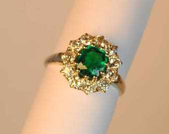Vintage 14kt White and Yellow Gold Emerald & Diamond Ring