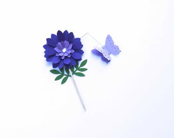Flower Cupcake Toppers, 3D Flowers, Garden Party Flowers, Spring Decor, Wedding Table Accents, Birthday Party Decorations, Baby Shower Decor