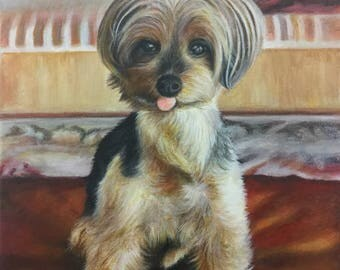 Yorkshire terrier dog painting from photo custom pet portrait on canvas hand painted