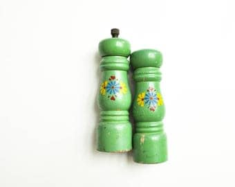 Vintage Jadeite Green Wooden Floral Salt Shaker and Pepper Mill