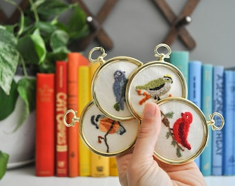Petite Set of Vintage Bird Crewel Embroidered Wall Hangings