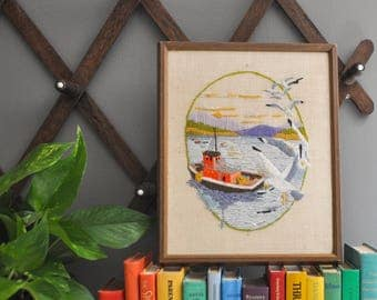Vintage Seascape Crewel Embroidery - Fishing Boat with Seagulls