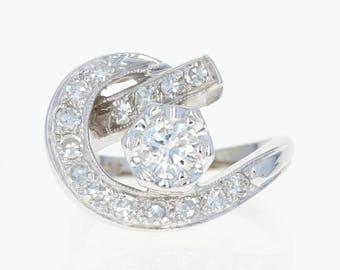 Retro Diamond Cocktail Ring - 14k White Gold Women's Crescent 1940s 1.01ctw U1208