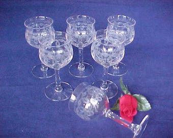 Morgantown Antique Clear Wine Glass Set (6) With Needle Etch #197 Circa 1923, Vintage Crystal Geometric Etched Stemware, Early 1900s Barware