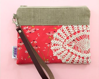 Ready to Ship - Wildflower Floral Leather Wristlet Vintage Lace