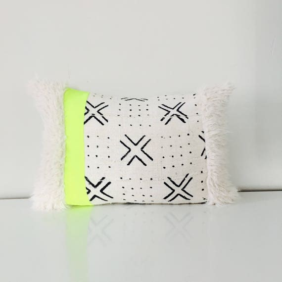 "Boho White Black Tribal Pillow Cover 14""x18"" Lumbar Cushion Pillow Ethnic Neon Stripe Bohemian African Geometric Motif MudCloth Fur Pillow"