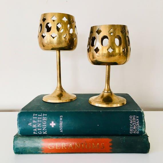 Vintage Brass Votive Candle Holders Set of (2) Pierced Brass Boho Goblet Style Graduating Sizes Moroccan Brass Decor