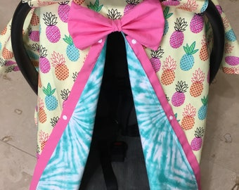 Pineapple baby car seat canopy- carseat canopy cover- baby shower- tie dye- turquoise- baby boy- baby girl- tropical