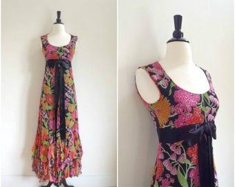 Summer Sale Vintage bohemian floral maxi dress with satin bow waist detail / sleeveless full layered skirt long dress / black floral