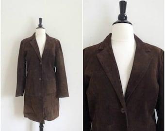Summer Sale Vintage long brown luxurious suede jacket / bohemian leather jacket