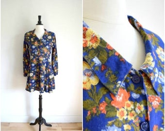Summer Sale Vintage 1990's blue floral long sleeved mini dress / bohemian button front collared dress