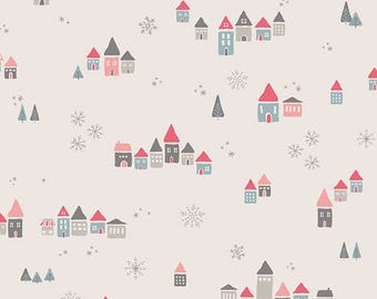 Fabric by the Yard- Little Town-- Snowdrift Joy- by Amy Sinibaldi for Art Gallery Fabrics