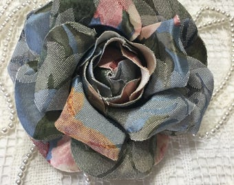 "1 Tapestry fabric flowers  4.5""  for, pins, barrette, headband....."