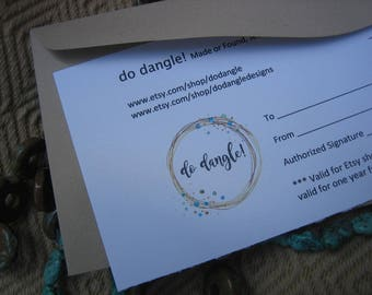 Gift Certificate / 25USD / Made or Found, Jewelry for Everyday Wear / Do Dangle!
