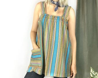Vintage 1970s Striped Terry Cloth Tunic Top size Medium