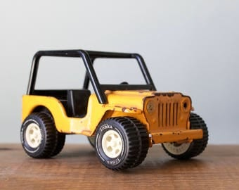 Vintage Pressed Steel Tonka Jeep with Trailer Hitch | Rare Yellow Metal Dune Buggy Toy