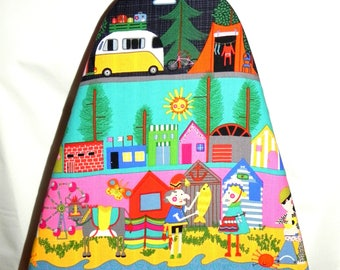 Tabletop Ironing Board Cover - Camping Teepee Fire Campers - Alexander Henry fabric - Laundry and Housewares