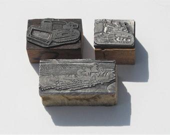 Vintage Print Blocks: 3 Metal and Wood Print Blocks, Farm, Agriculture, Farming Theme