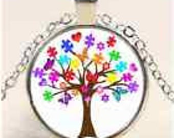 Glass Cabochon Pendant Necklace Autism Awareness Tree